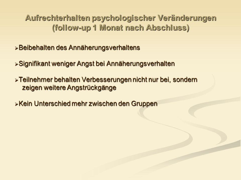 Aufrechterhalten psychologischer Veränderungen (follow-up 1 Monat nach Abschluss) Beibehalten des Annäherungsverhaltens Beibehalten des Annäherungsver