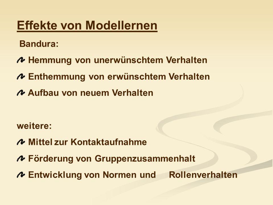 Anwendungen in der Verhaltenstherapie Cautela & Kearney, 1986: Modellierung in der Vorstellung (1) Beobachter-Perspektive (2) self modelling (3) Perspektive des Handelnden (4) Ausführung des Zielverhaltens in der Realität