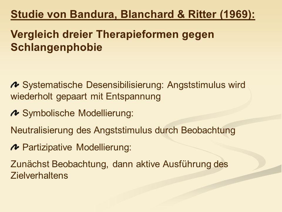 Studie von Bandura, Blanchard & Ritter (1969): Vergleich dreier Therapieformen gegen Schlangenphobie Systematische Desensibilisierung: Angststimulus w