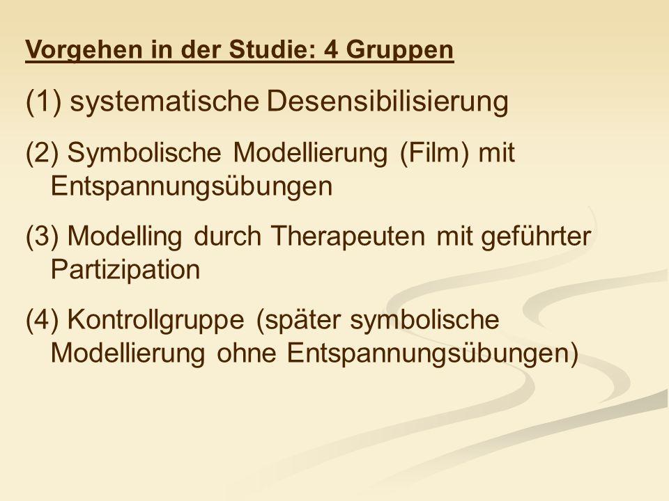 Vorgehen in der Studie: 4 Gruppen (1) systematische Desensibilisierung (2) Symbolische Modellierung (Film) mit Entspannungsübungen (3) Modelling durch