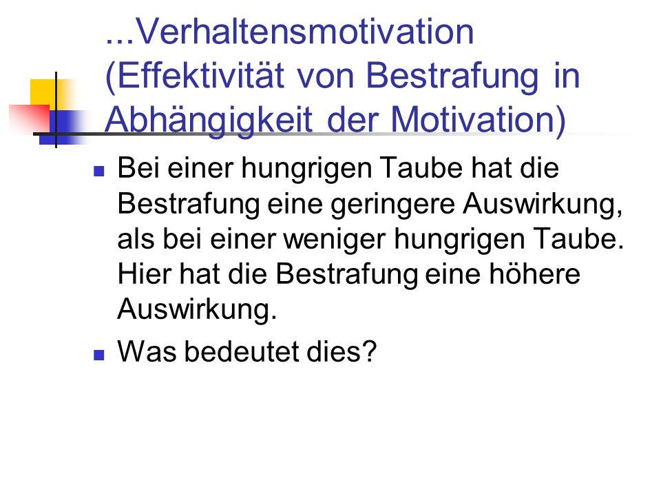 ...Verhaltensmotivation (Effektivität von Bestrafung in Abhängigkeit der Motivation) Bei einer hungrigen Taube hat die Bestrafung eine geringere Auswirkung, als bei einer weniger hungrigen Taube.
