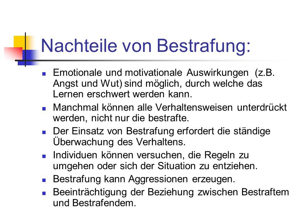 Nachteile von Bestrafung: Emotionale und motivationale Auswirkungen (z.B.