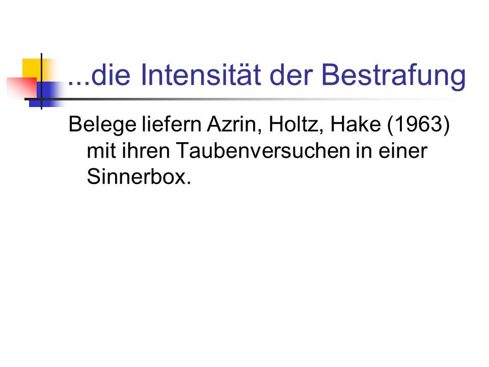 ...die Intensität der Bestrafung Belege liefern Azrin, Holtz, Hake (1963) mit ihren Taubenversuchen in einer Sinnerbox.