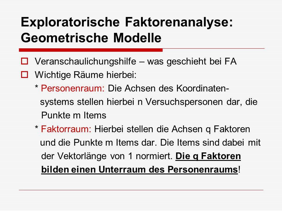 Exploratorische Faktorenanalyse: Geometrische Modelle Veranschaulichungshilfe – was geschieht bei FA Wichtige Räume hierbei: * Personenraum: Die Achse