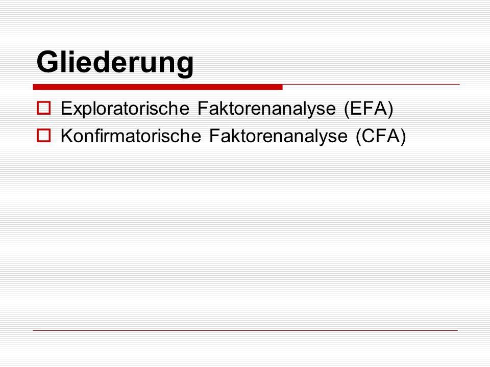 Gliederung Exploratorische Faktorenanalyse (EFA) Konfirmatorische Faktorenanalyse (CFA)