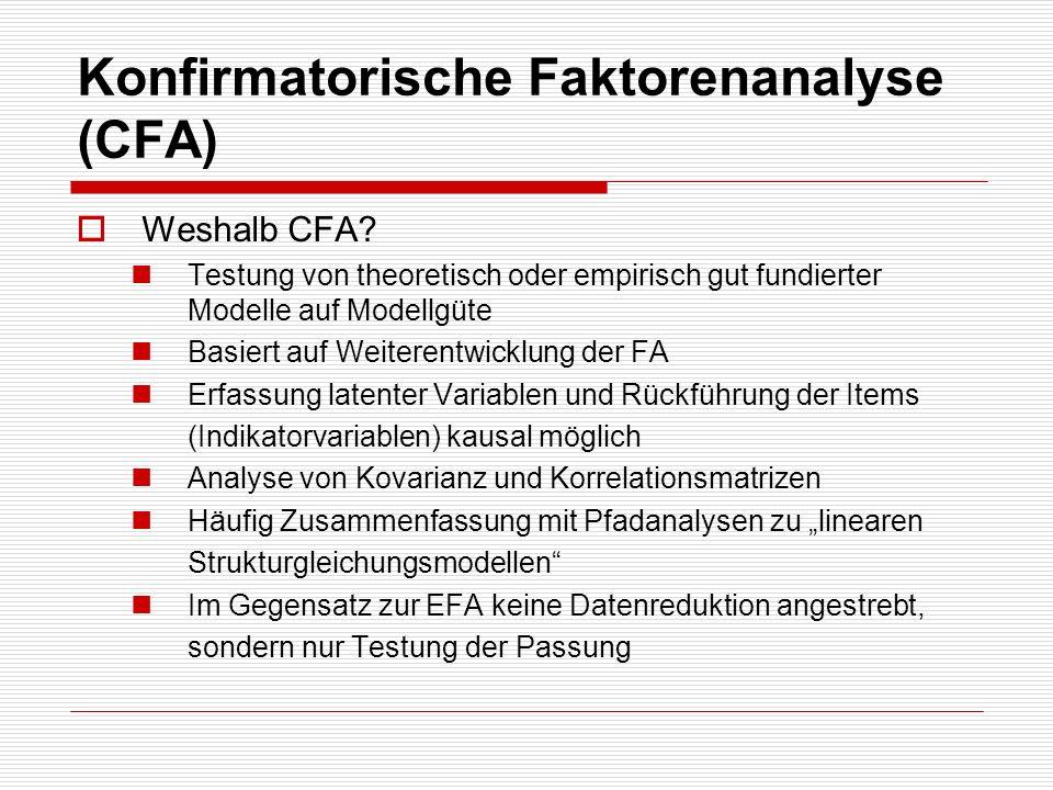Konfirmatorische Faktorenanalyse (CFA) Weshalb CFA? Testung von theoretisch oder empirisch gut fundierter Modelle auf Modellgüte Basiert auf Weiterent