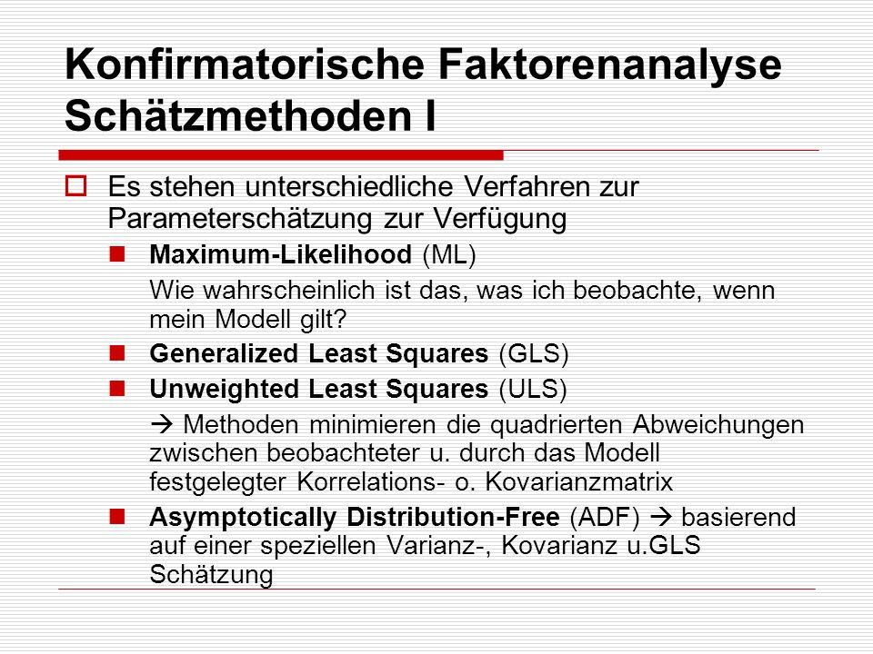 Konfirmatorische Faktorenanalyse Schätzmethoden I Es stehen unterschiedliche Verfahren zur Parameterschätzung zur Verfügung Maximum-Likelihood (ML) Wi