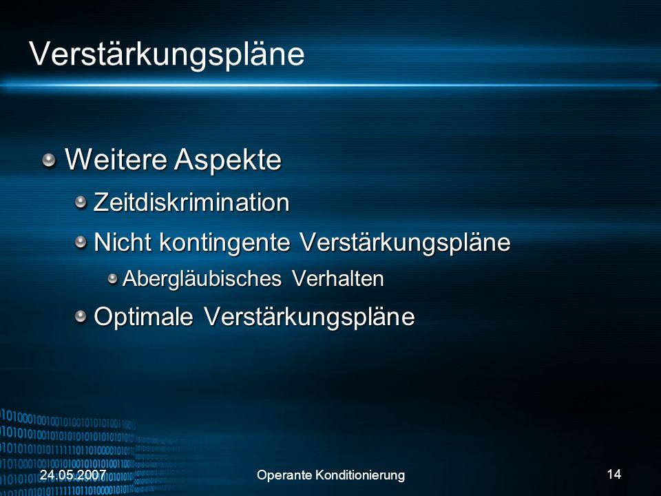 24.05.2007Operante Konditionierung 14 Verstärkungspläne Weitere Aspekte Zeitdiskrimination Nicht kontingente Verstärkungspläne Abergläubisches Verhalt