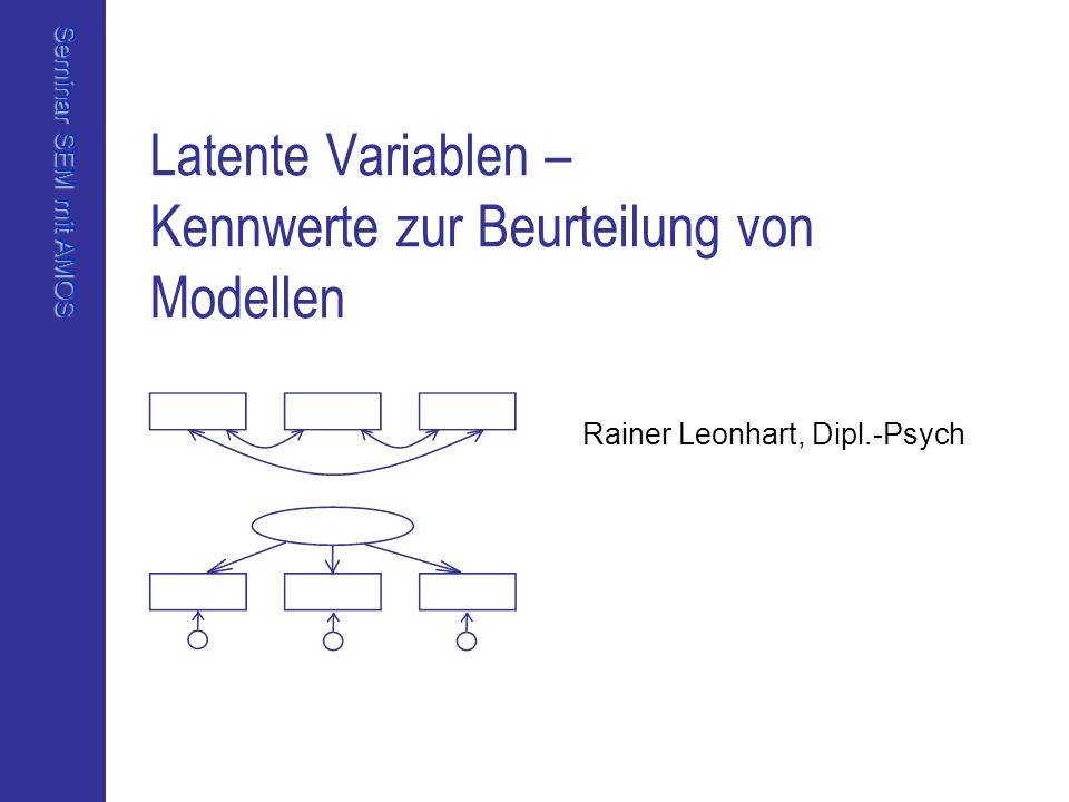 Seminar SEM mit AMOS Rainer Leonhart, Dipl.Psych Universität Freiburg, Institut für Psychologie Lösung 1: Modellpassung CMIN ModelNPARCMINDFPCMIN/DF Default model2020,882160,1831,305 Saturated model3600 Independence model8130,8552804,673