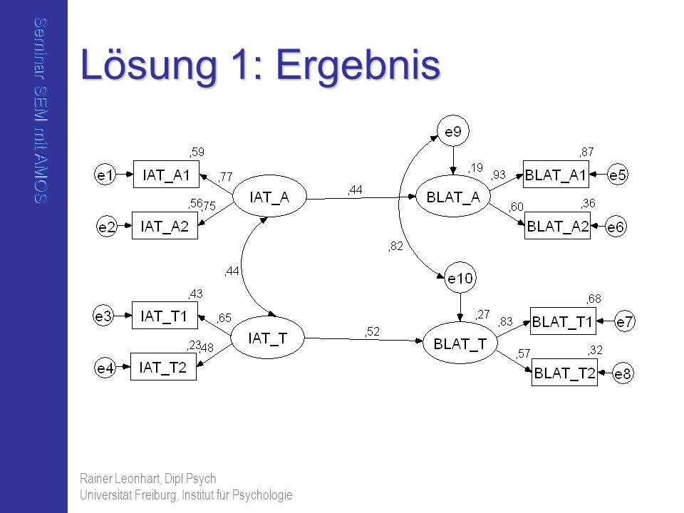 Seminar SEM mit AMOS Rainer Leonhart, Dipl.Psych Universität Freiburg, Institut für Psychologie Lösung 1: Ergebnis