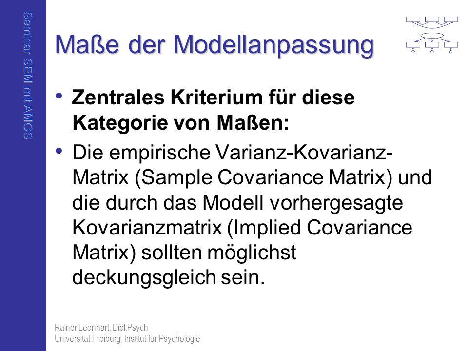 Seminar SEM mit AMOS Rainer Leonhart, Dipl.Psych Universität Freiburg, Institut für Psychologie Maße der Modellanpassung Zentrales Kriterium für diese