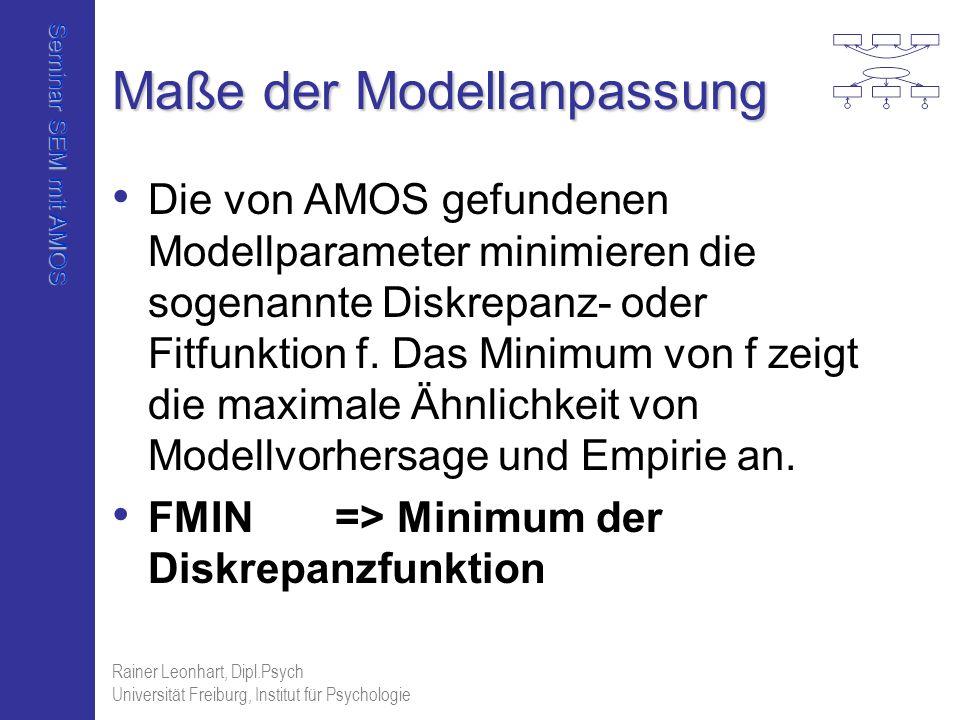 Seminar SEM mit AMOS Rainer Leonhart, Dipl.Psych Universität Freiburg, Institut für Psychologie Maße der Modellanpassung Die von AMOS gefundenen Model