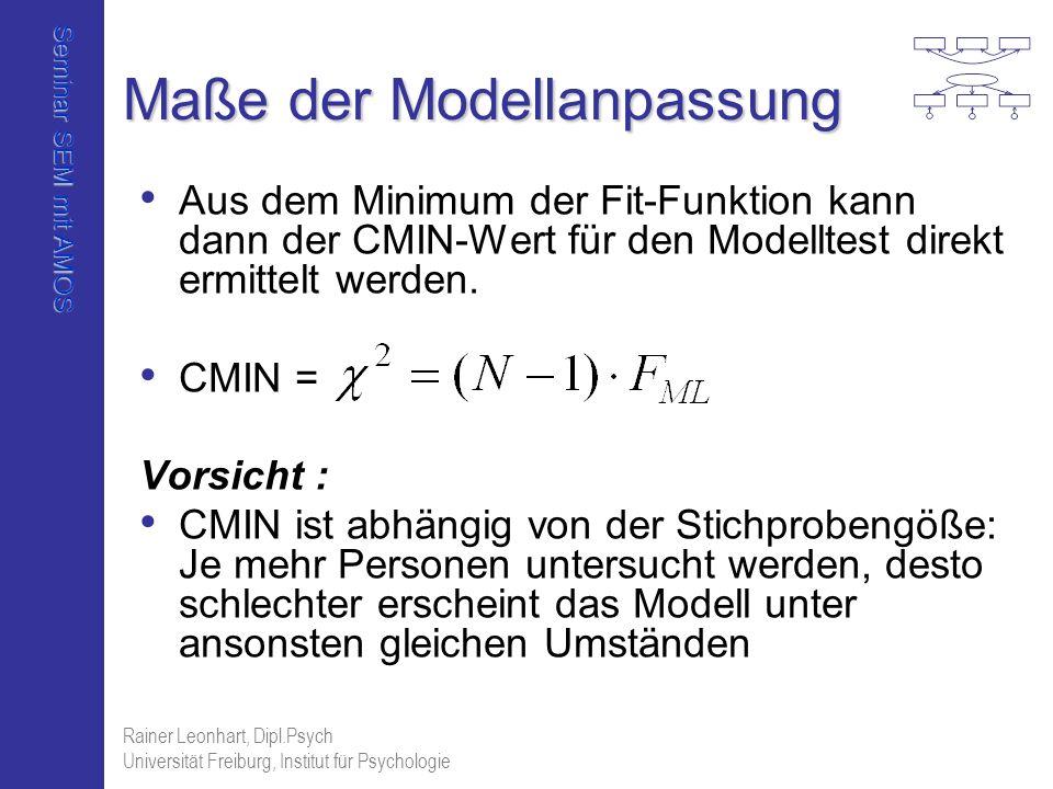 Seminar SEM mit AMOS Rainer Leonhart, Dipl.Psych Universität Freiburg, Institut für Psychologie Maße der Modellanpassung Aus dem Minimum der Fit-Funkt
