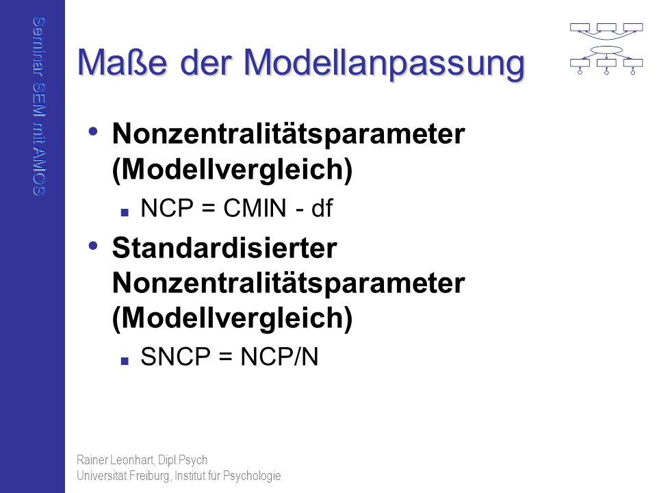 Seminar SEM mit AMOS Rainer Leonhart, Dipl.Psych Universität Freiburg, Institut für Psychologie Maße der Modellanpassung Nonzentralitätsparameter (Mod