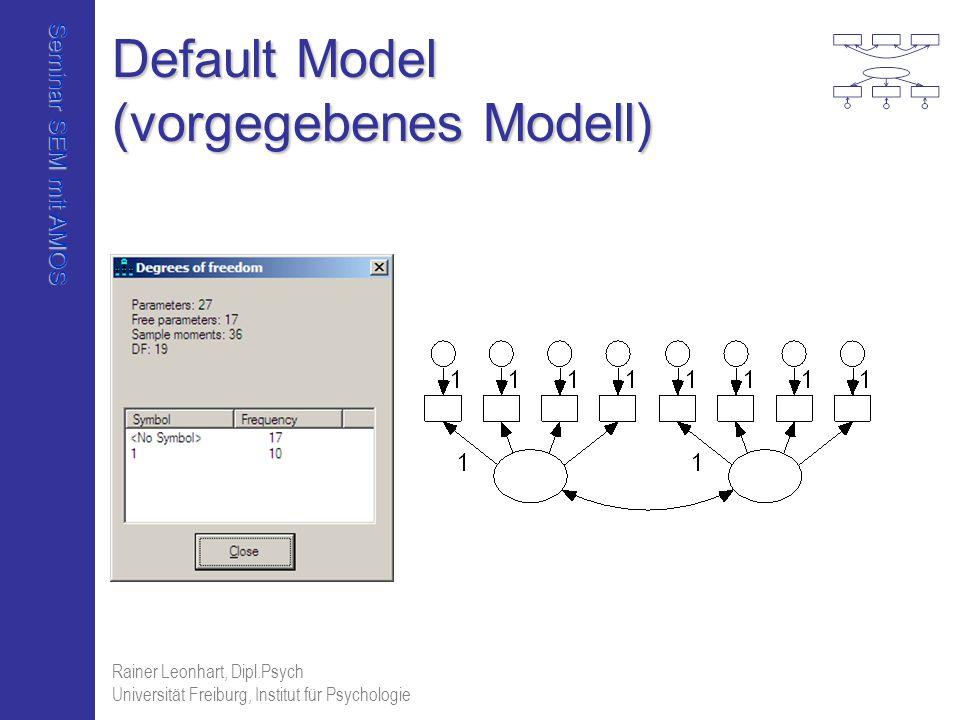 Seminar SEM mit AMOS Rainer Leonhart, Dipl.Psych Universität Freiburg, Institut für Psychologie Default Model (vorgegebenes Modell)