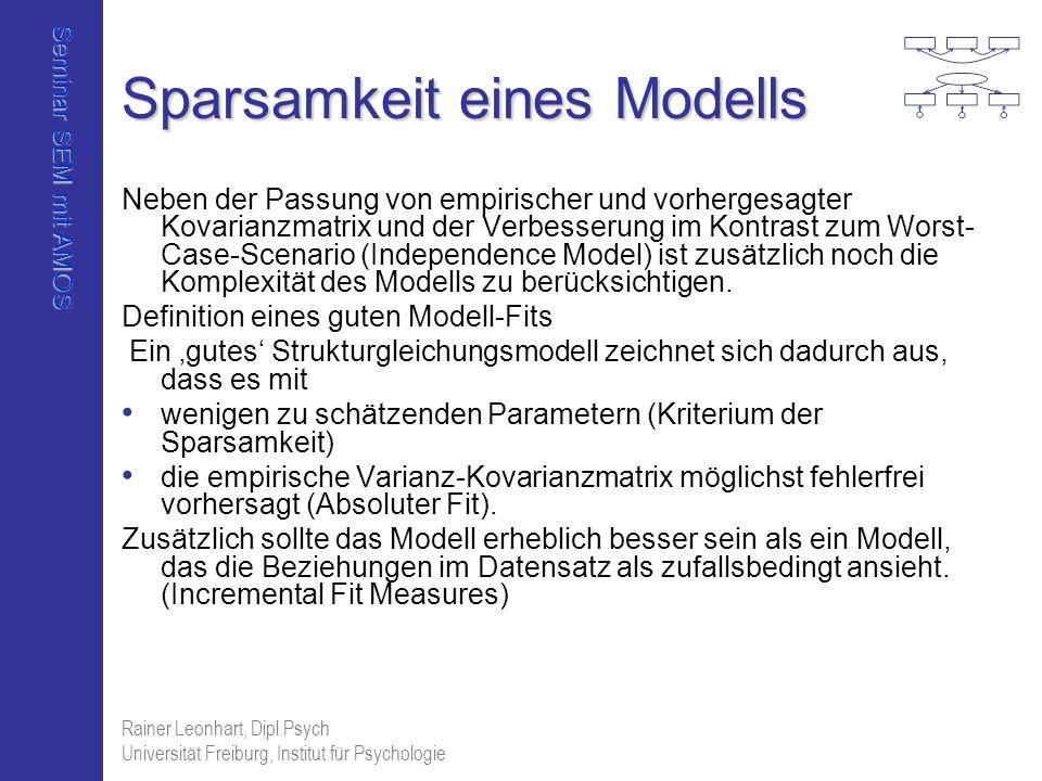 Seminar SEM mit AMOS Rainer Leonhart, Dipl.Psych Universität Freiburg, Institut für Psychologie Sparsamkeit eines Modells Neben der Passung von empiri