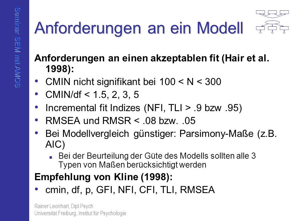 Seminar SEM mit AMOS Rainer Leonhart, Dipl.Psych Universität Freiburg, Institut für Psychologie Anforderungen an ein Modell Anforderungen an einen akz