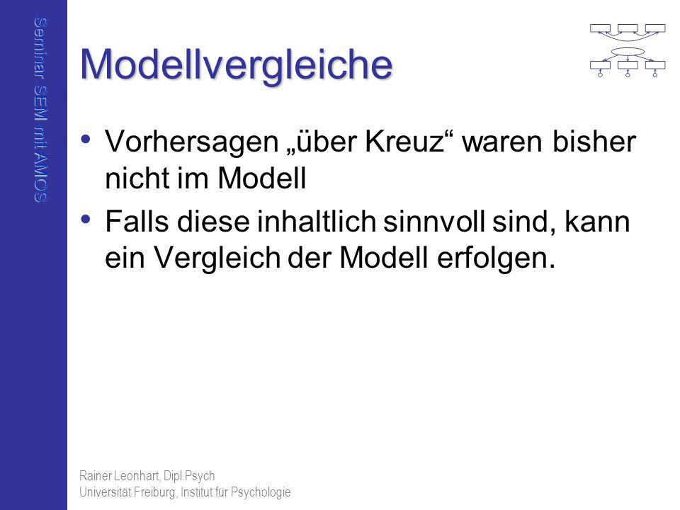 Seminar SEM mit AMOS Rainer Leonhart, Dipl.Psych Universität Freiburg, Institut für Psychologie Modellvergleiche Vorhersagen über Kreuz waren bisher n