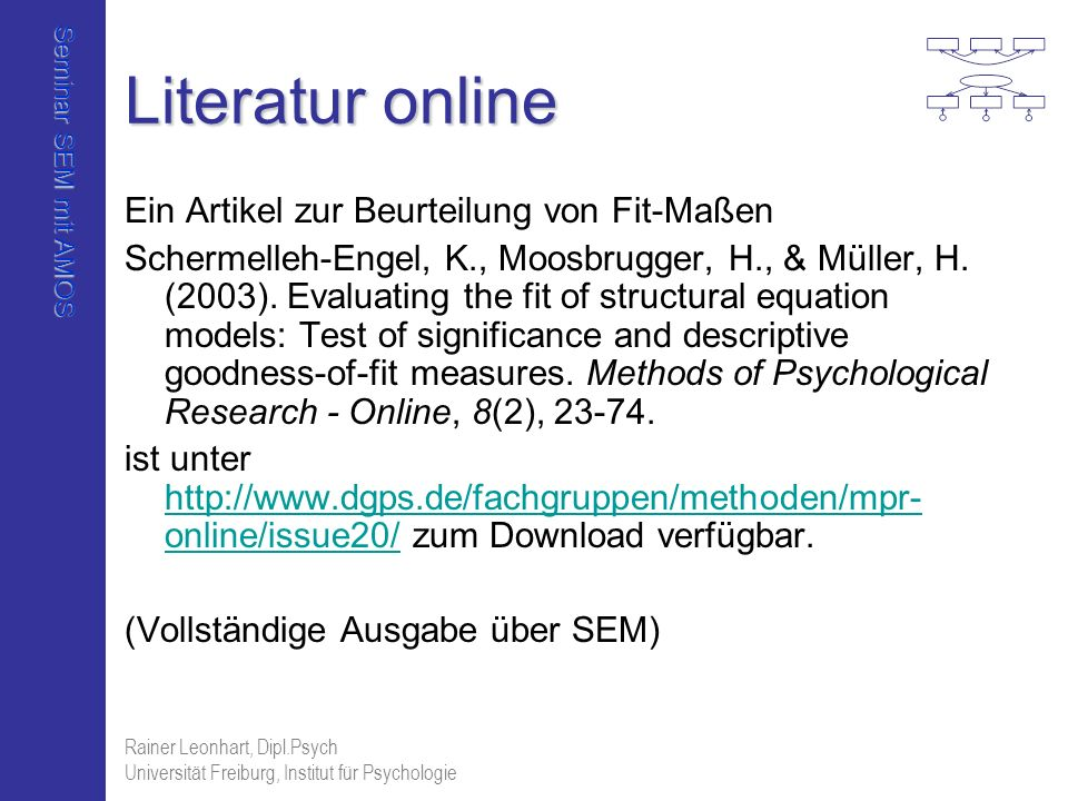 Seminar SEM mit AMOS Rainer Leonhart, Dipl.Psych Universität Freiburg, Institut für Psychologie Literatur online Ein Artikel zur Beurteilung von Fit-M
