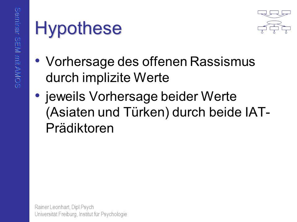 Seminar SEM mit AMOS Rainer Leonhart, Dipl.Psych Universität Freiburg, Institut für Psychologie Hypothese Vorhersage des offenen Rassismus durch impli