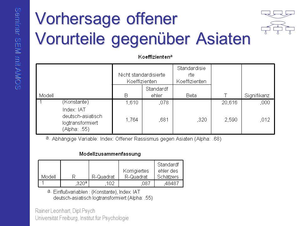 Seminar SEM mit AMOS Rainer Leonhart, Dipl.Psych Universität Freiburg, Institut für Psychologie Vorhersage offener Vorurteile gegenüber Asiaten