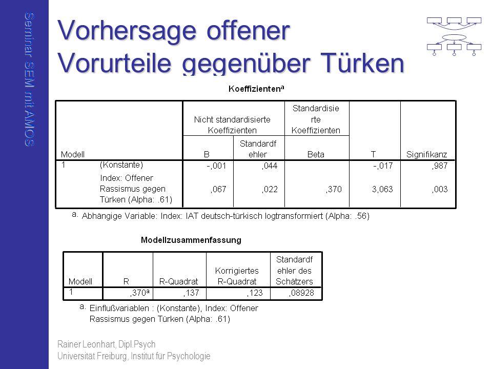 Seminar SEM mit AMOS Rainer Leonhart, Dipl.Psych Universität Freiburg, Institut für Psychologie Vorhersage offener Vorurteile gegenüber Türken