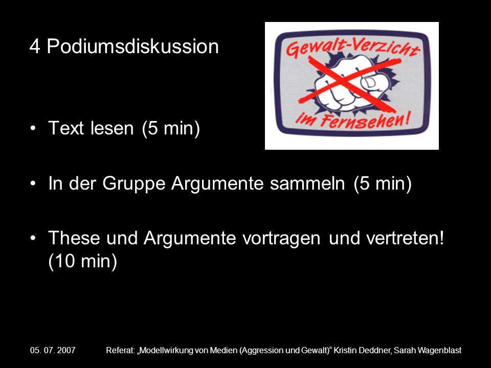05. 07. 2007Referat: Modellwirkung von Medien (Aggression und Gewalt) Kristin Deddner, Sarah Wagenblast 4 Podiumsdiskussion Text lesen (5 min) In der
