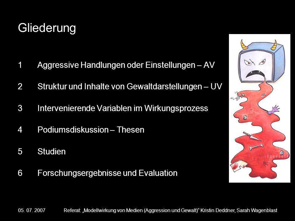 05. 07. 2007Referat: Modellwirkung von Medien (Aggression und Gewalt) Kristin Deddner, Sarah Wagenblast Gliederung 1Aggressive Handlungen oder Einstel