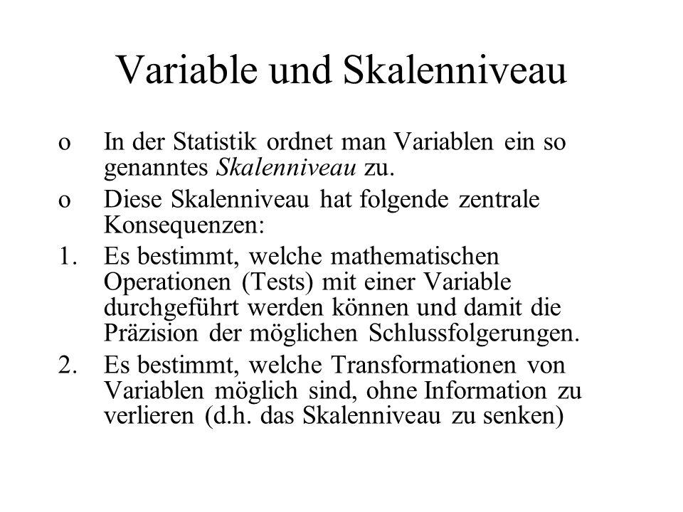 Transformationen Unter einer Transformation wird eine Umwandlung von Variablenwerten durch eine mathematische Funktion verstanden, welche die ursprünglichen Werte in jeweils neue Werte überführt.