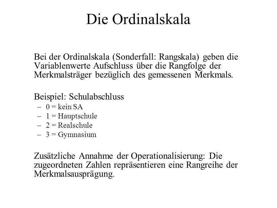 Die Ordinalskala Aussagekraft von Variablenwerten: -Information über Gleichheit / Verschiedenheit der Merkmalsausprägung, -Größer / Kleiner Relationen Mögliche Transformationen: Erlaubt sind nur noch alle monotonen Transformationen.