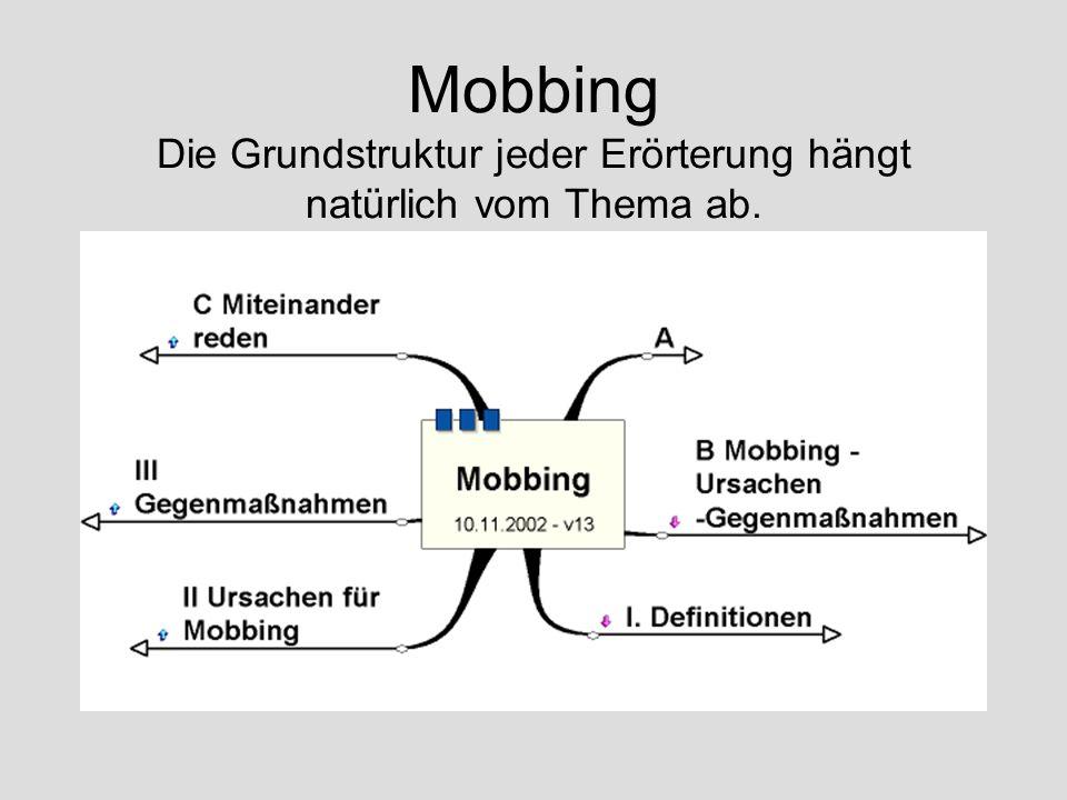 Mobbing Die Grundstruktur jeder Erörterung hängt natürlich vom Thema ab.