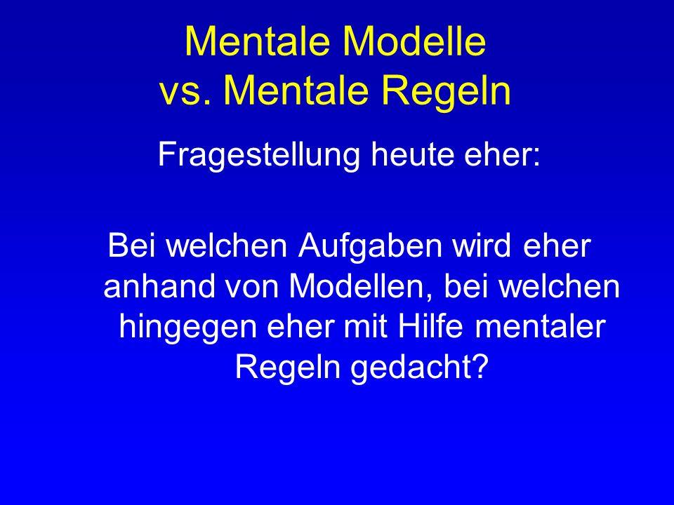 Mentale Modelle vs. Mentale Regeln Gegen mentale Regeln: Wenn die Sonne scheint, ist Susi beim Segeln. Wenn ihr Boot nicht gerade von ihrem Vater benu