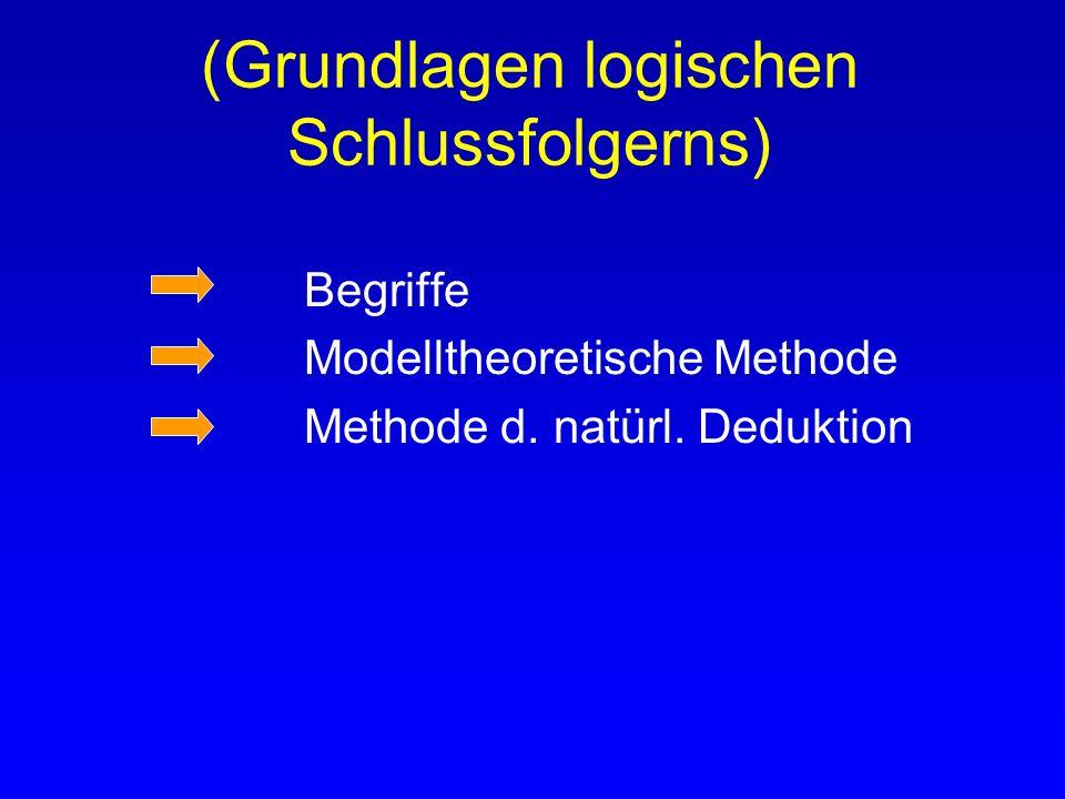 Grundlagen logischen Schlussfolgerns Begriffe Modelltheoretische Methode