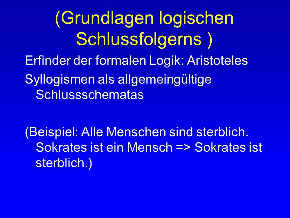 (Grundlagen logischen Schlussfolgerns) Begriffe Modelltheoretische Methode Methode d. natürl. Deduktion