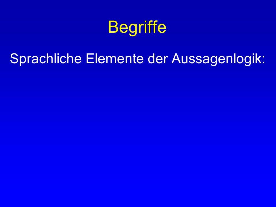 Begriffe Beispiel Aussagenlogik : Untersucht zusammengesetzte Aussagen daraufhin, aus welchen einfachen Aussagen sie mit Hilfe von Bindewörtern (= Jun