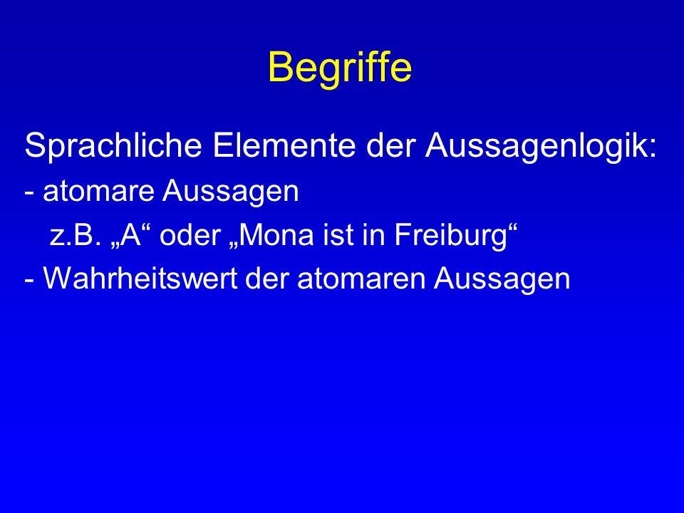 Begriffe Sprachliche Elemente der Aussagenlogik: - atomare Aussagen z.B. A oder Mona ist in Freiburg