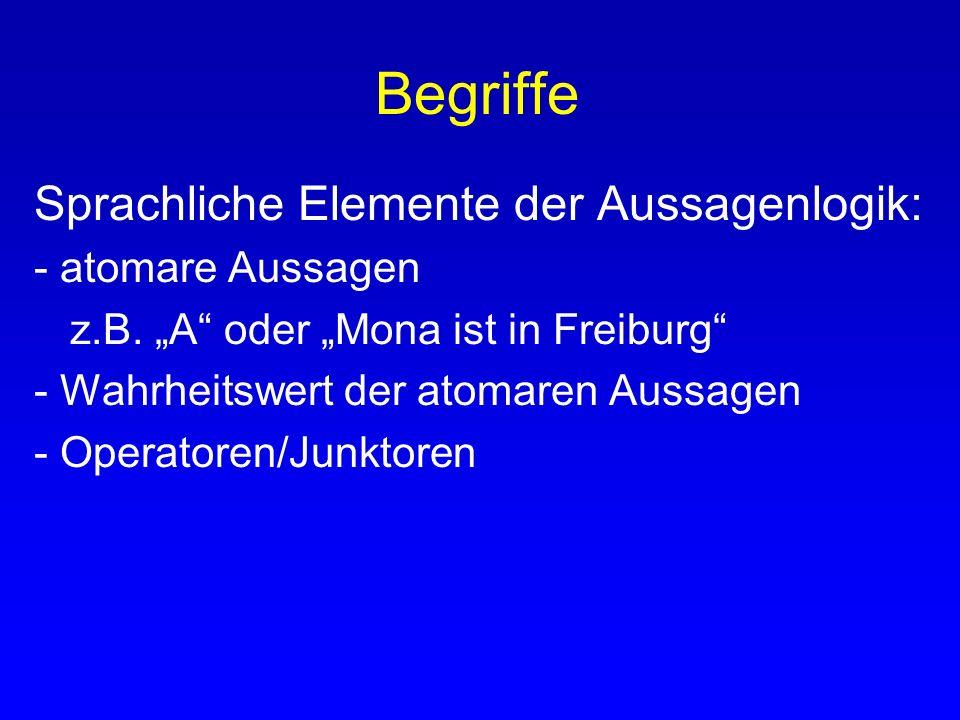 Begriffe Sprachliche Elemente der Aussagenlogik: - atomare Aussagen z.B. A oder Mona ist in Freiburg - Wahrheitswert der atomaren Aussagen