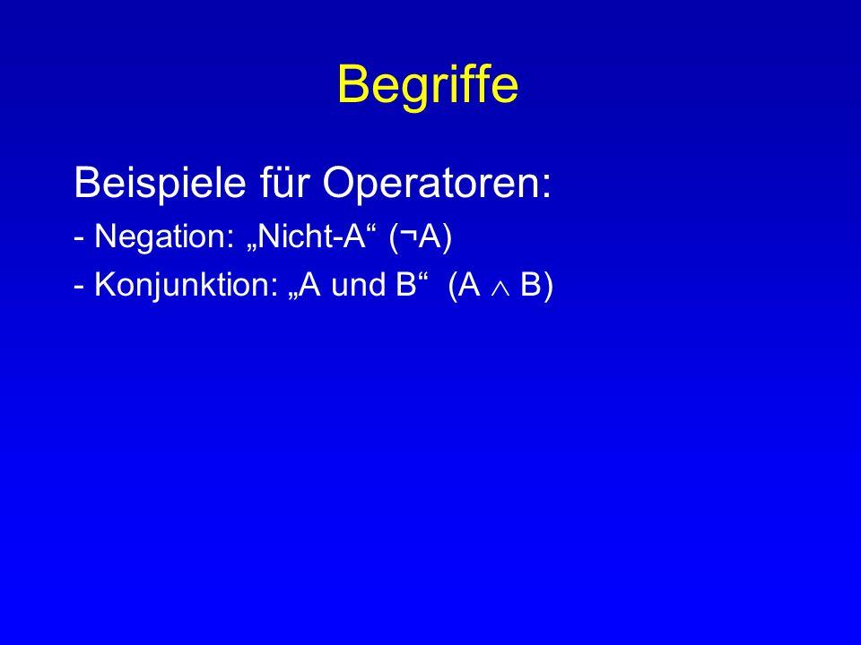 Begriffe Beispiele für Operatoren: - Negation: Nicht-A (¬A)