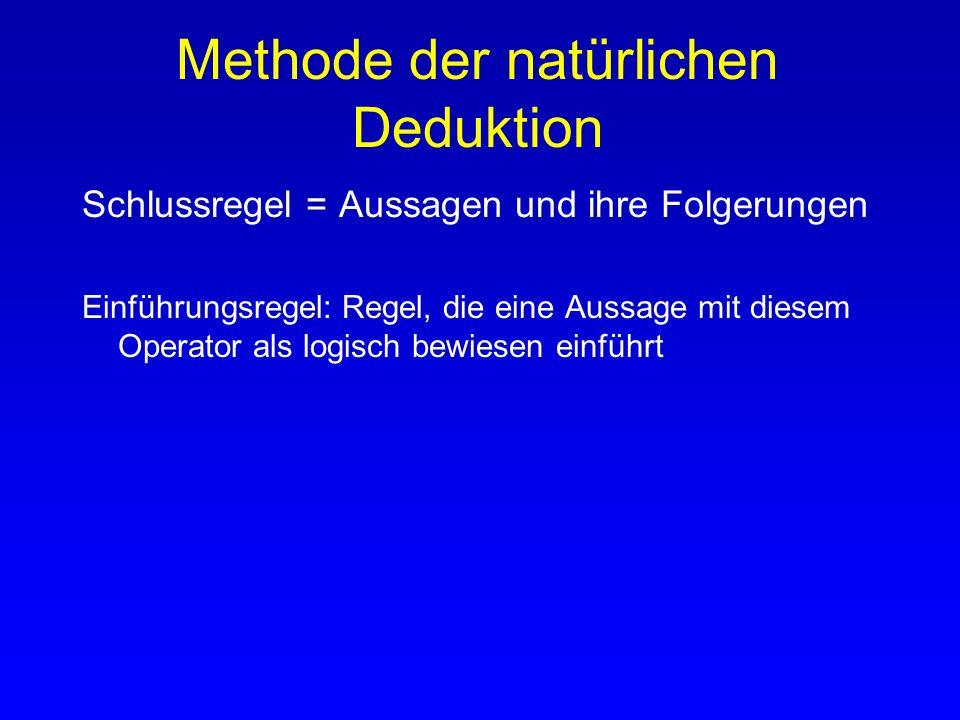 Methode der natürlichen Deduktion Schlussregel = Aussagen und ihre Folgerungen