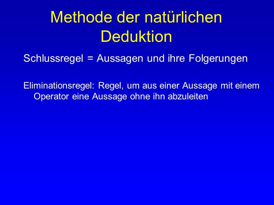 Methode der natürlichen Deduktion Schlussregel = Aussagen und ihre Folgerungen Einführungsregel: Regel, die eine Aussage mit diesem Operator als logis