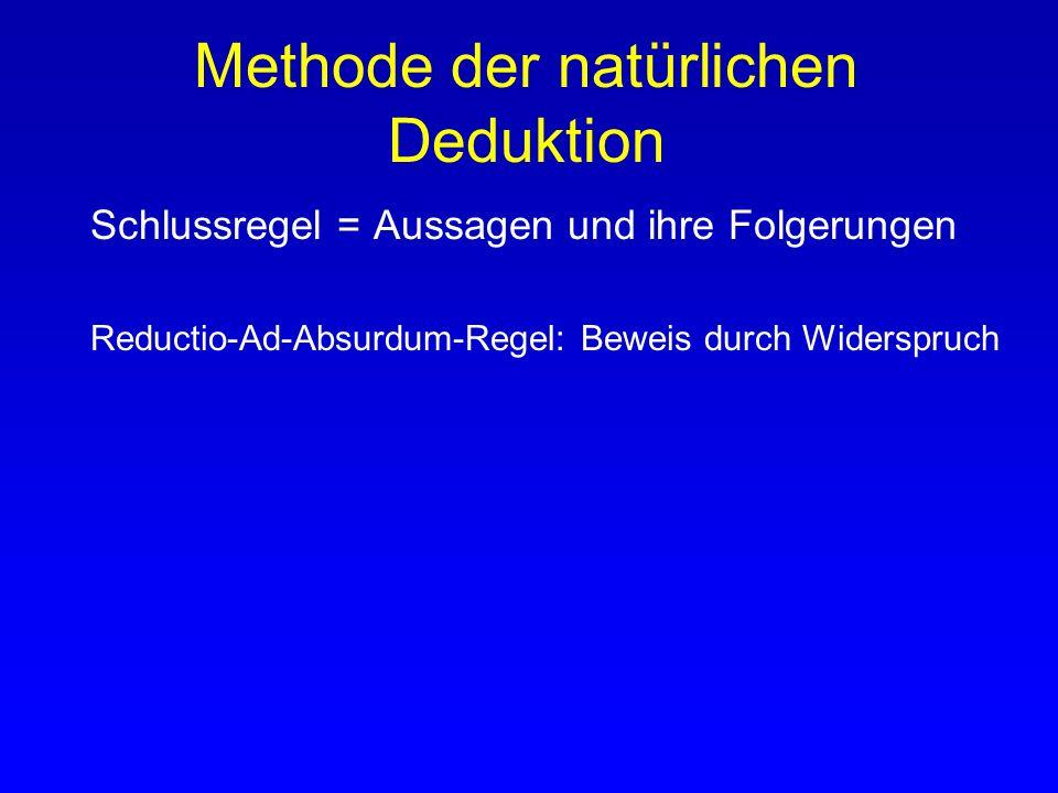 Methode der natürlichen Deduktion Schlussregel = Aussagen und ihre Folgerungen Eliminationsregel: Regel, um aus einer Aussage mit einem Operator eine