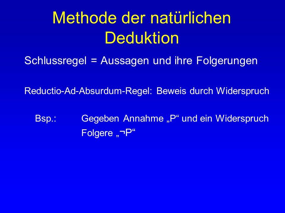 Methode der natürlichen Deduktion Schlussregel = Aussagen und ihre Folgerungen Reductio-Ad-Absurdum-Regel: Beweis durch Widerspruch