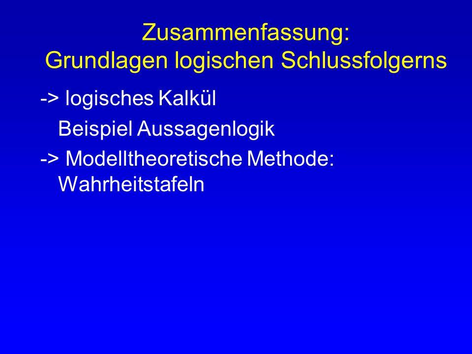 Zusammenfassung: Grundlagen logischen Schlussfolgerns -> logisches Kalkül Beispiel Aussagenlogik -> Modelltheoretische Methode: