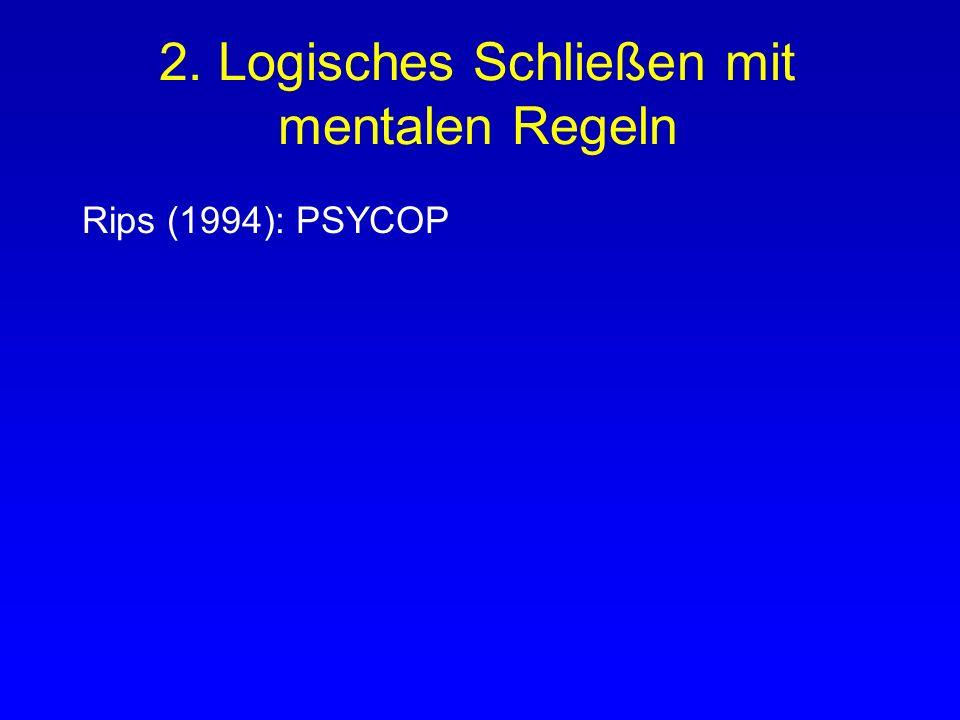 2. Logisches Schließen mit mentalen Regeln Analog der Methode der natürlichen Deduktion : Ziehen von logischen Schlüssen anhand von allgemeinen Regeln