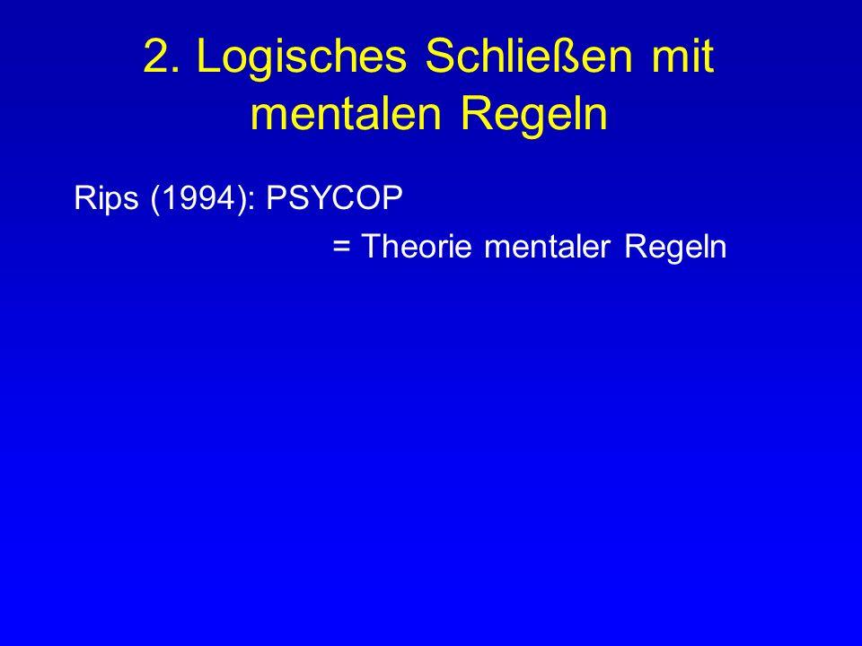 2. Logisches Schließen mit mentalen Regeln Rips (1994): PSYCOP