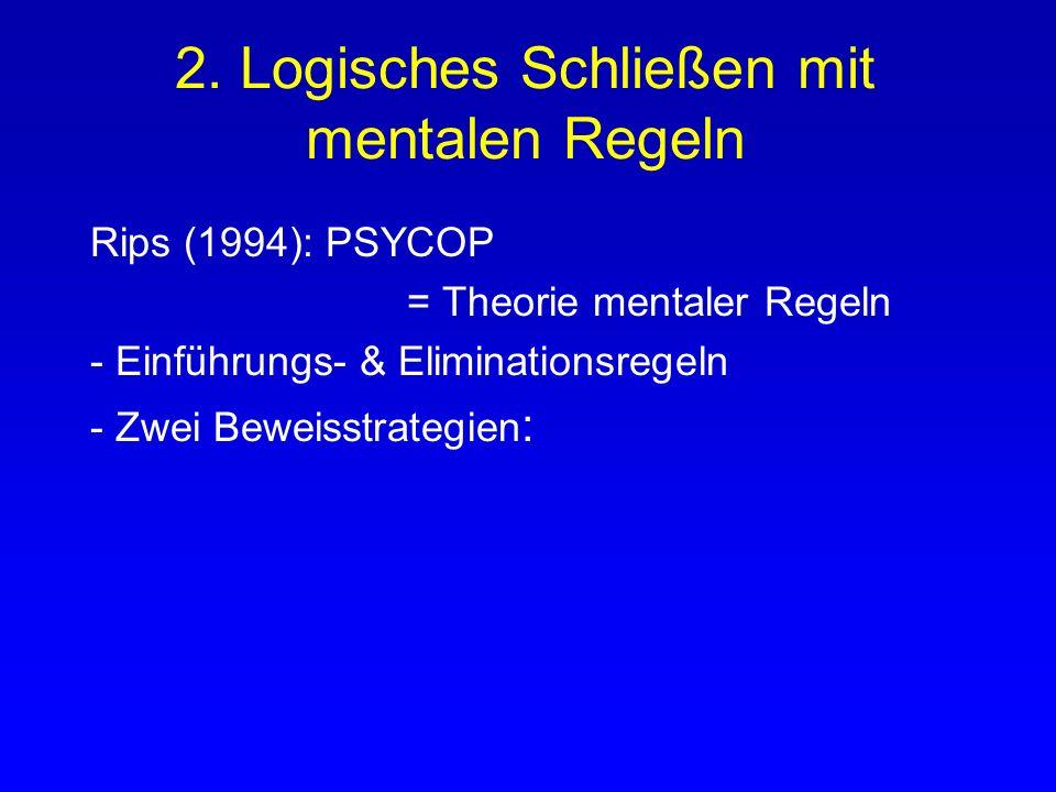 2. Logisches Schließen mit mentalen Regeln Rips (1994): PSYCOP = Theorie mentaler Regeln - Einführungs- & Eliminationsregeln