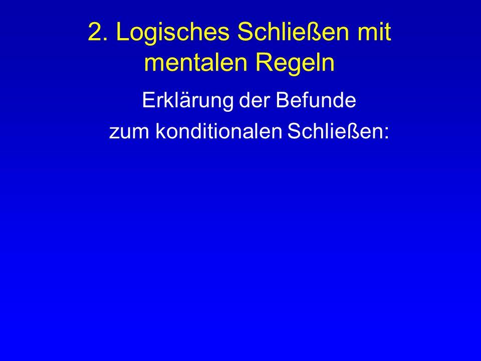 2. Logisches Schließen mit mentalen Regeln Rips (1994): PSYCOP = Theorie mentaler Regeln - Einführungs- & Eliminationsregeln - Zwei Beweisstrategien :