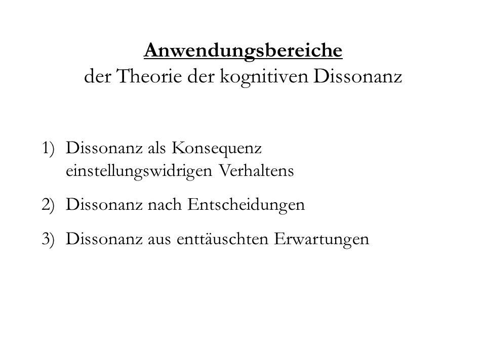 Anwendungsbereiche der Theorie der kognitiven Dissonanz 1)Dissonanz als Konsequenz einstellungswidrigen Verhaltens 2)Dissonanz nach Entscheidungen 3)D