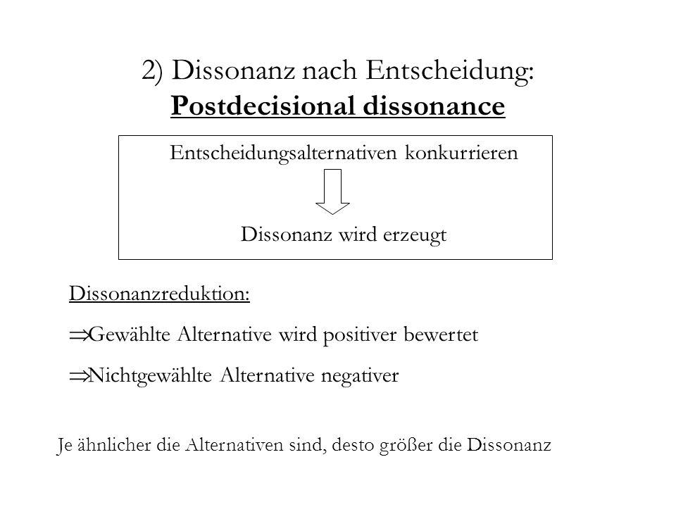 2) Dissonanz nach Entscheidung: Postdecisional dissonance Entscheidungsalternativen konkurrieren Dissonanz wird erzeugt Dissonanzreduktion: Gewählte A