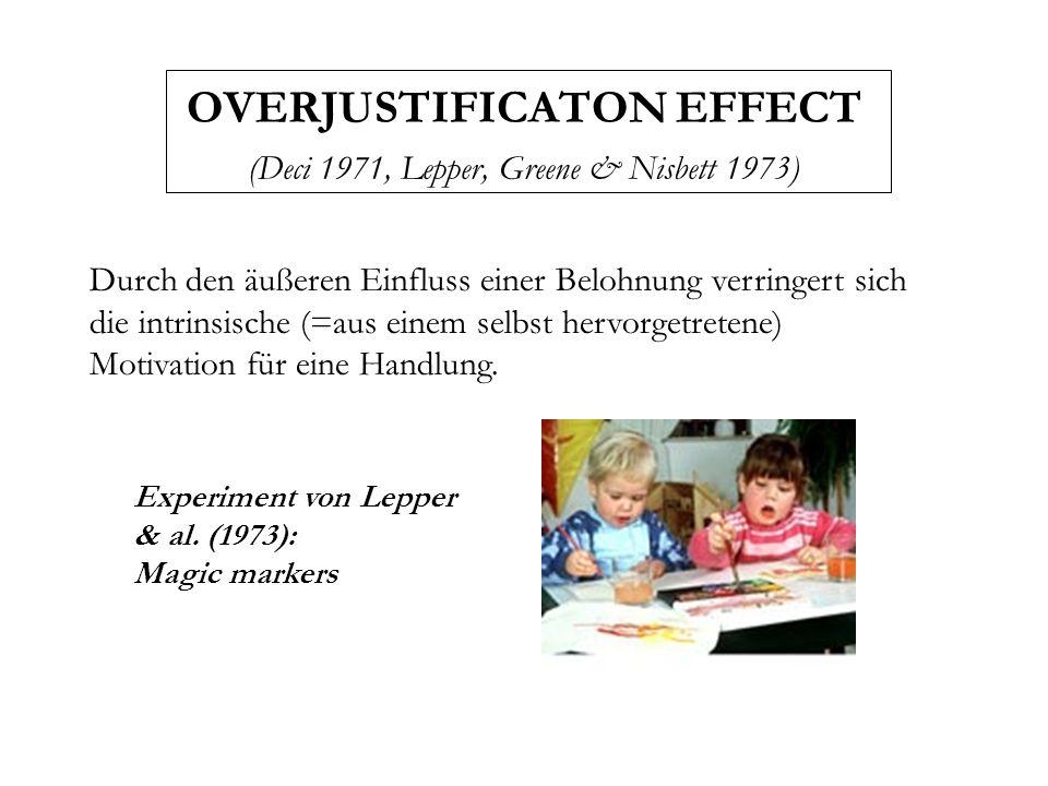 OVERJUSTIFICATON EFFECT (Deci 1971, Lepper, Greene & Nisbett 1973) Durch den äußeren Einfluss einer Belohnung verringert sich die intrinsische (=aus e